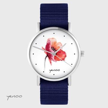 Yenoo watch - Poppy - navy blue, nato