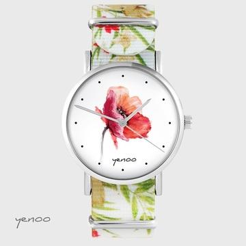 Yenoo watch - Poppy - flowers, nato
