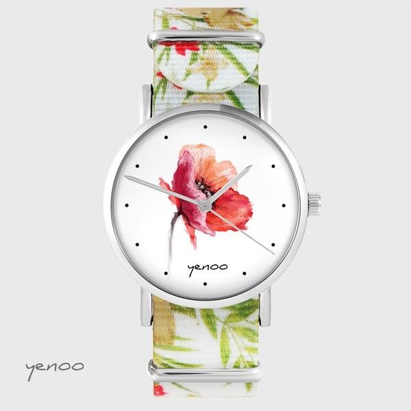 Zegarek yenoo - Mak - kwiaty, nato