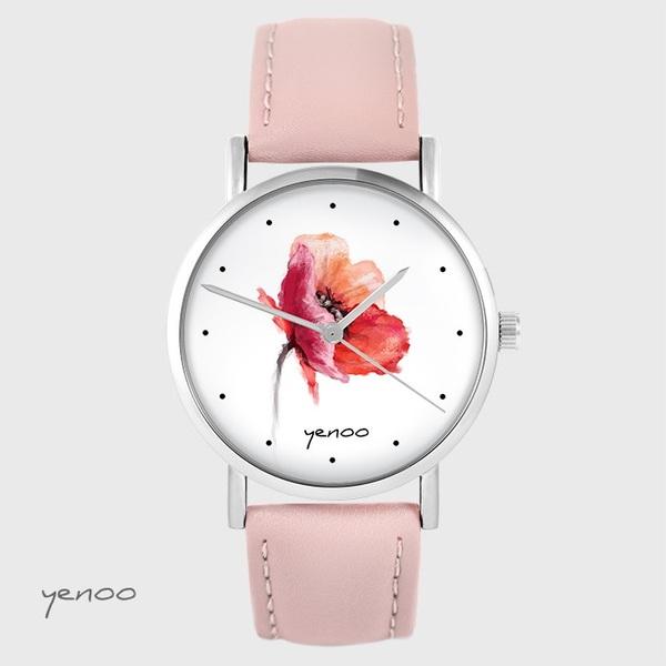 Zegarek yenoo - Mak - pudrowy róż, skórzany