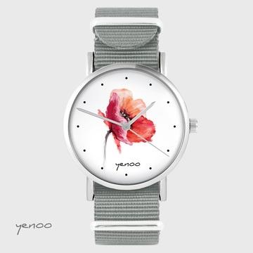 Yenoo watch - Poppy - grey nato