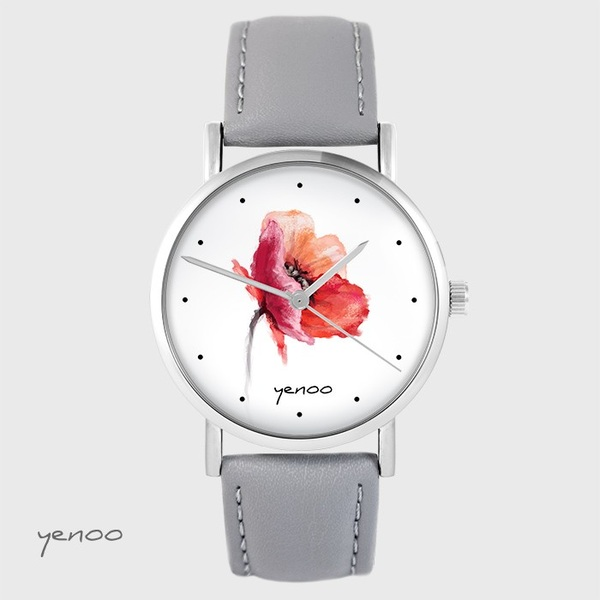 Zegarek yenoo - Mak - szary, skórzany