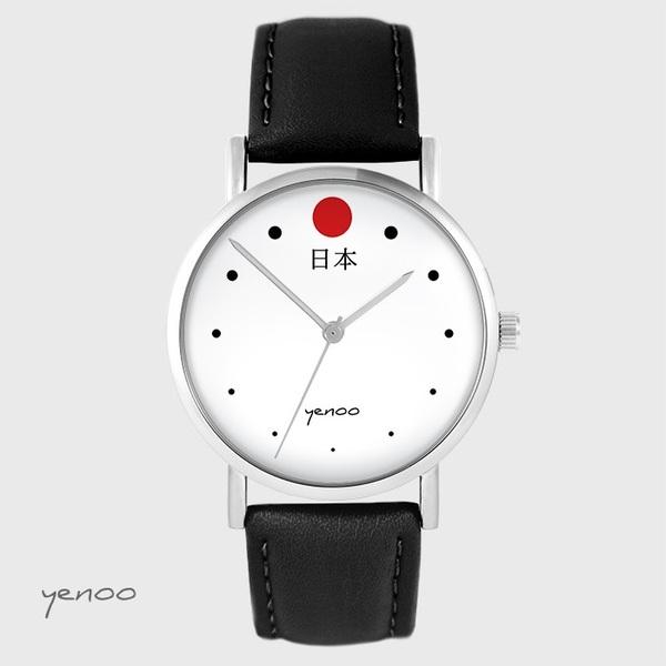 Zegarek yenoo - Japonia - czarny, skórzany