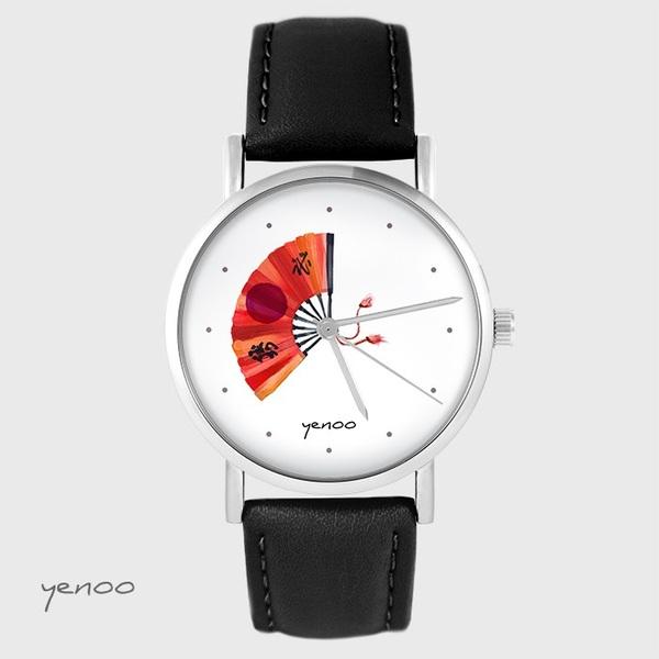 Zegarek yenoo - Japoński wachlarz - czarny, skórzany