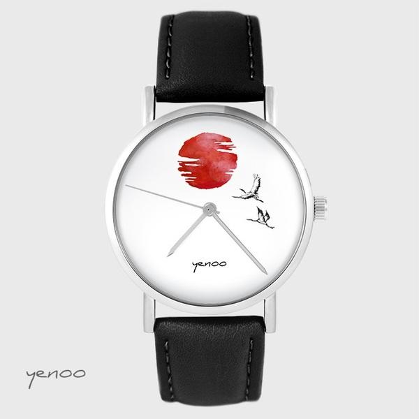 Zegarek yenoo - Japońskie żurawie na tle słońca - czarny, skórzany