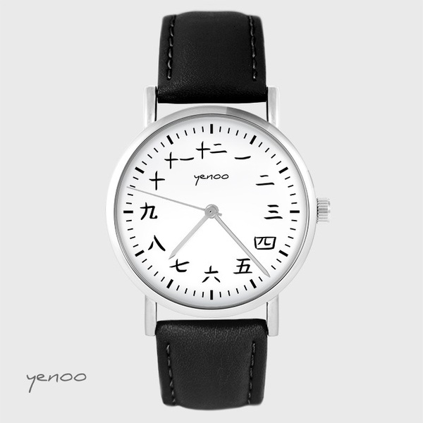 Yenoo watch - Kanji - black, leather