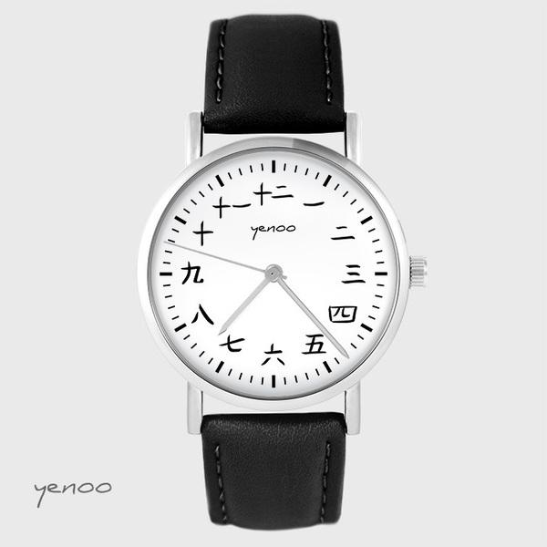 Zegarek yenoo - Kanji - czarny, skórzany