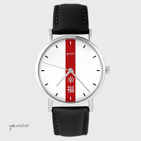 Yenoo watch - Happiness - black, leather