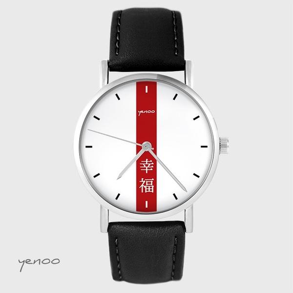 Zegarek yenoo - Szczęście - czarny, skórzany