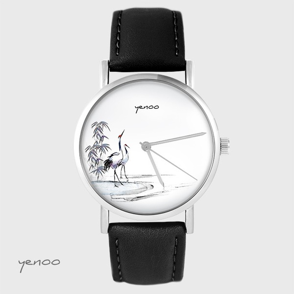Yenoo watch - Sumi-e cranes - black, leather