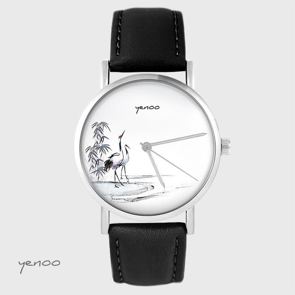Zegarek yenoo - Żurawie sumi-e - czarny, skórzany