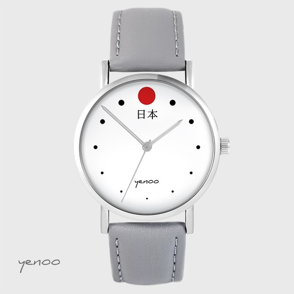 Yenoo watch - Japan - gray, leather