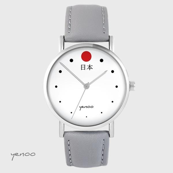 Zegarek yenoo - Japonia - szary, skórzany