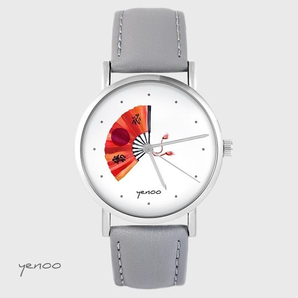 Zegarek yenoo - Japoński wachlarz - szary, skórzany
