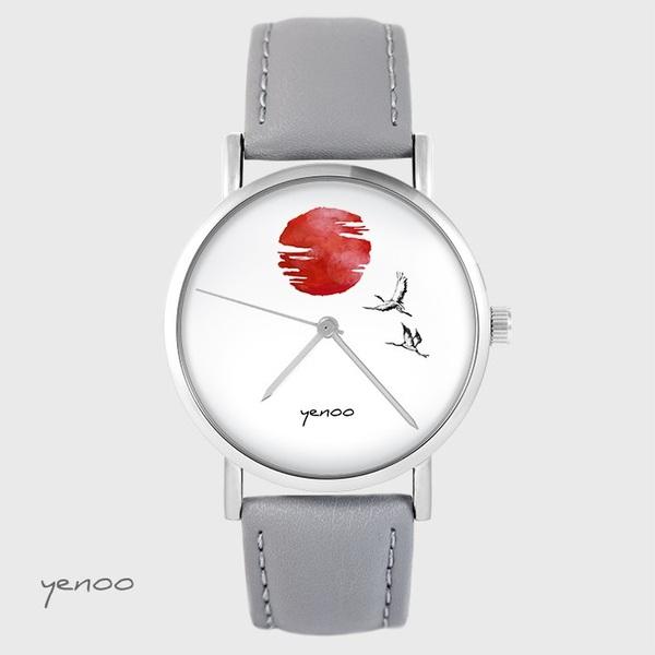 Zegarek yenoo - Japońskie żurawie na tle słońca - szary, skórzany