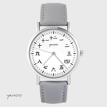 Yenoo watch - Kanji - gray, leather