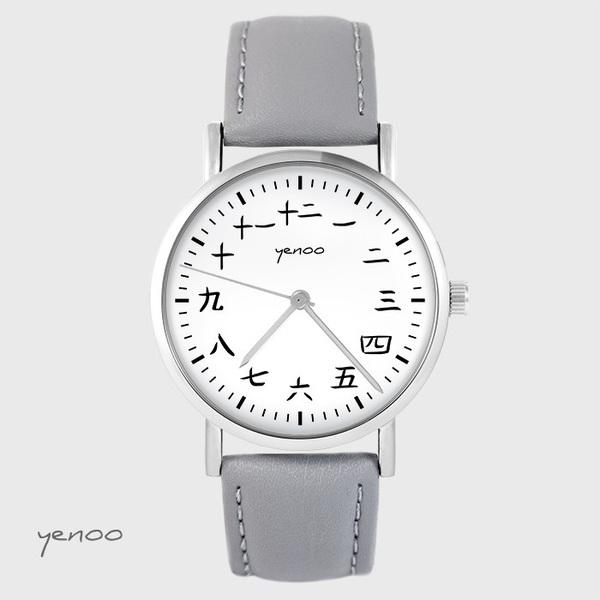 Zegarek yenoo - Kanji - szary, skórzany
