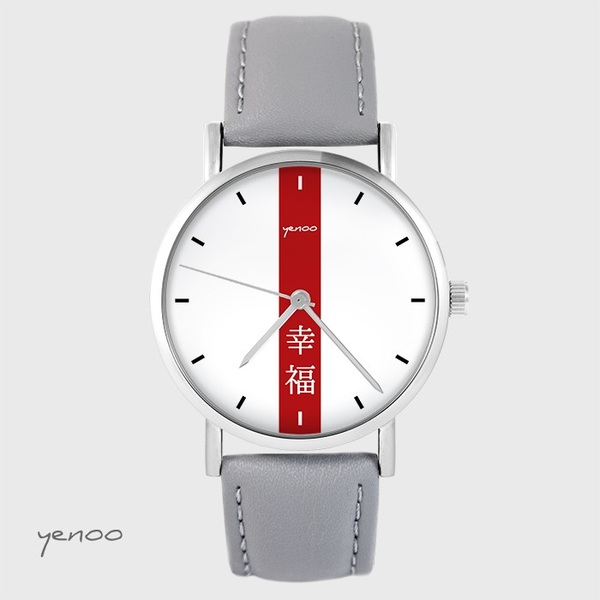 Zegarek yenoo - Szczęście - szary, skórzany