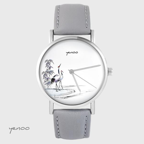 Zegarek yenoo - Żurawie sumi-e - szary, skórzany