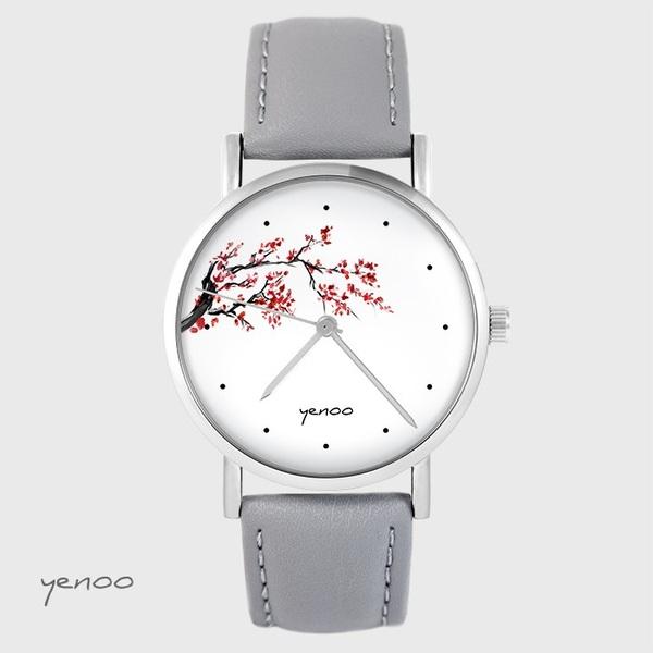 Zegarek yenoo - Kwitnąca wiśnia - szary, skórzany