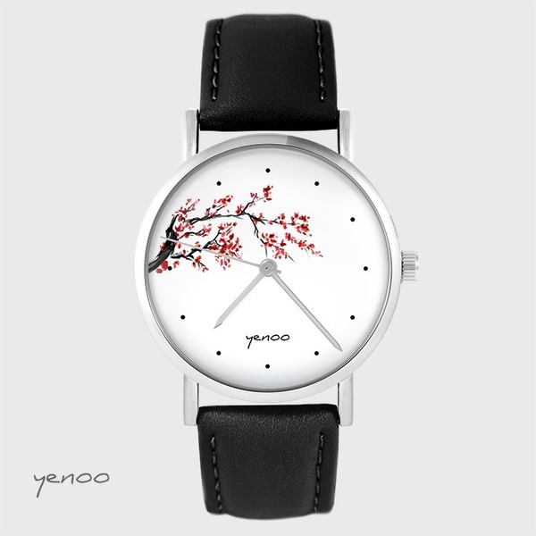 Yenoo watch - Cherry blossom - black, leather