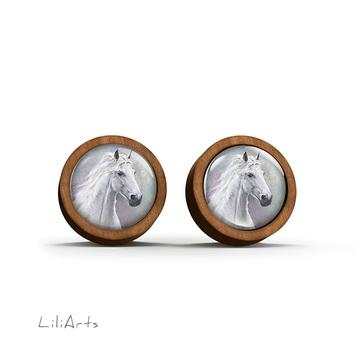 Wooden earrings - White horse - sticks