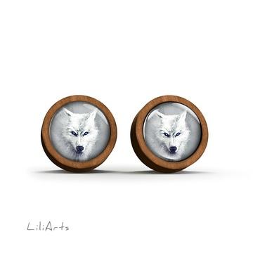 Wooden earrings - White wolf - sticks