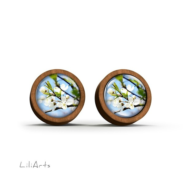 Wooden earrings - Blue sky - sticks