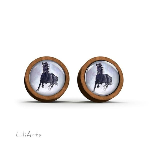 Wooden earrings - Black running horse - sticks