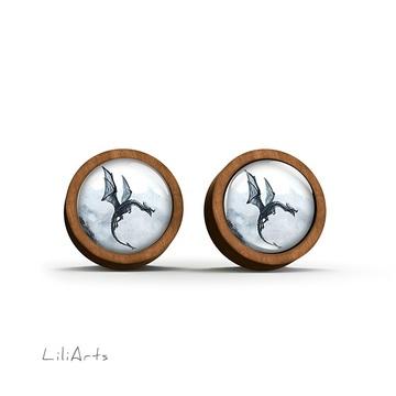 Wooden earrings - Black dragon - sticks