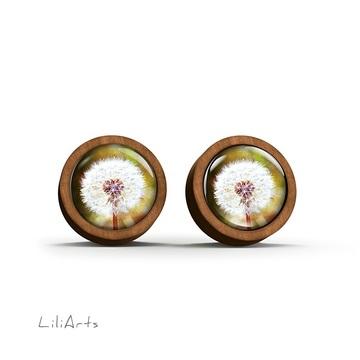 Wooden earrings - Dandelion - sticks