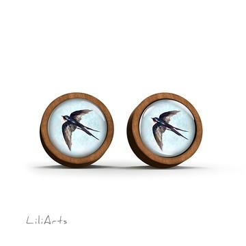 Wooden earrings - Swallow - sticks