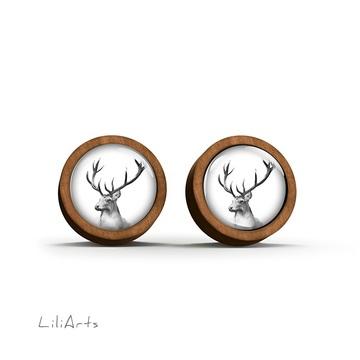 Wooden earrings - Deer - Into the wild - sticks