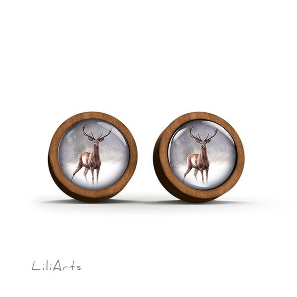 Kolczyki drewniane - Jeleń 2 - sztyfty
