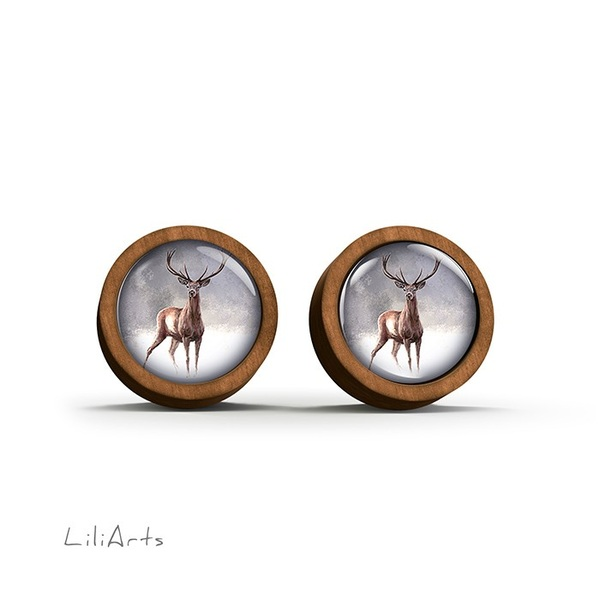 Wooden earrings - Deer 2 - sticks