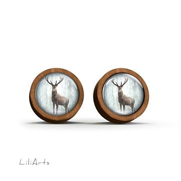 Wooden earrings - Deer in winter - sticks