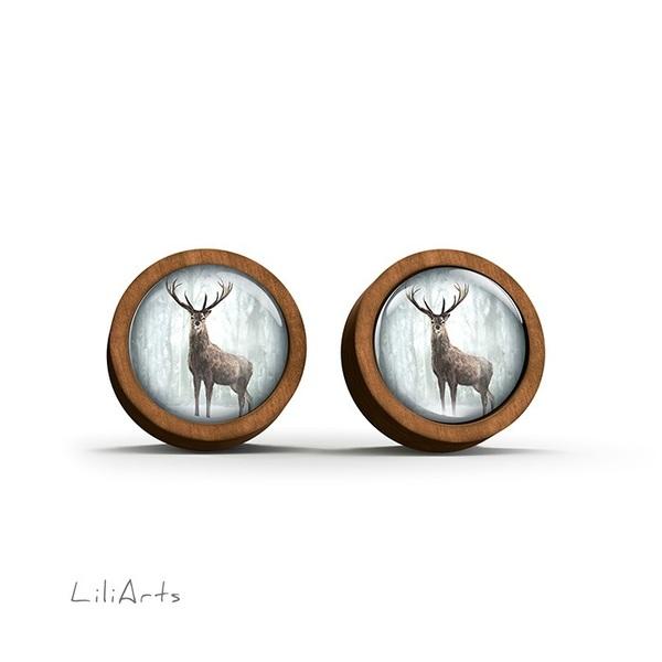 Kolczyki drewniane - Jeleń zimą - sztyfty