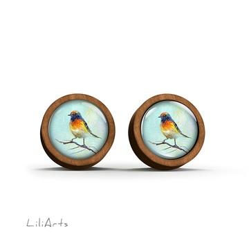 Wooden earrings - Colorful bird - sticks