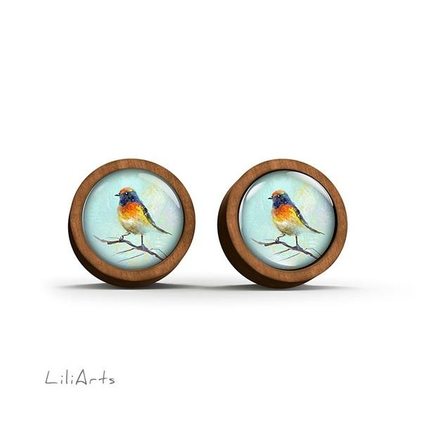Kolczyki drewniane - Kolorowy ptaszek - sztyfty
