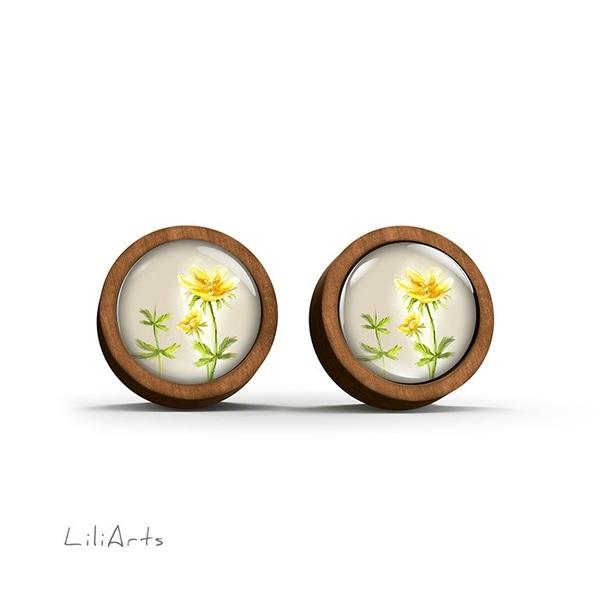 Kolczyki drewniane - Kwiatek - sztyfty