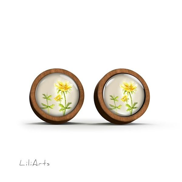 Wooden earrings - Flower - sticks