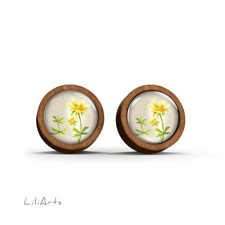 Wooden earrings - Flower - sticks